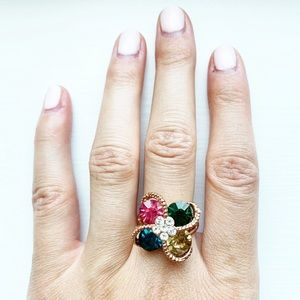 Vintage rose gold & gemstone flower ring